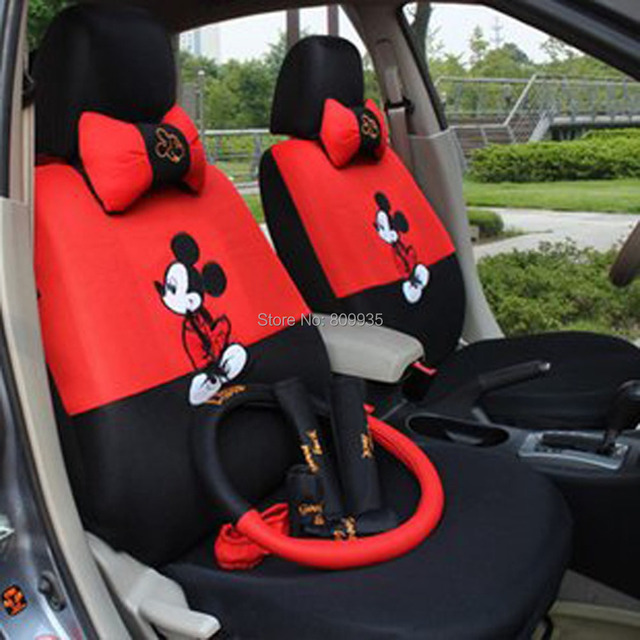 Mickey Mouse AutoCar Front & Rear Seat Covers car Accessories car cushion-18pcs-lovely cartoon car seat covers