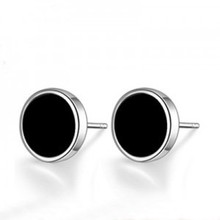 Lose money promotion high quality black men jewelry fashion 30% percent silver plated men's stud earrings wholesale(China (Mainland))