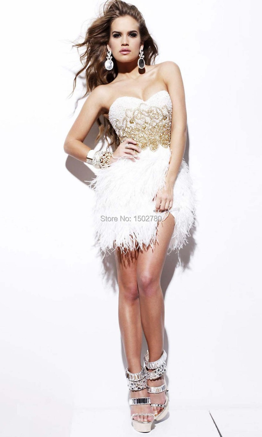 Gorgeous White Feather Dress Sequin Bead Strapless Mini Feather ...