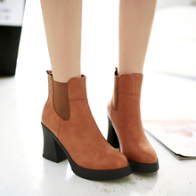 2016 Fashion thick High Heels Boots For Women Sexy ankle boots Footwear Round Toe Platform Motorcycle Boots casual shoes woman(China (Mainland))