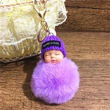 1 Pcs Bonito Fofo Bebê Dormindo Chaveiro Bola de Pêlo de Coelho Pompom Chaveiro Car Chaveiro Mulheres Saco Chave Titular Pingente charme Jóias(China)