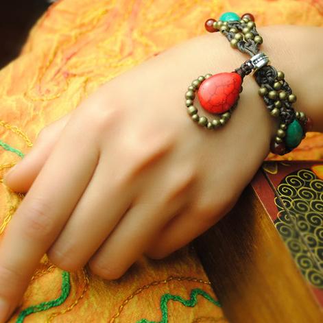 women ethnic bracelet&bangle red,new tibetan silver vintage thailand bracelet,fashion turquoise jewelry braided charm bracelt(China (Mainland))