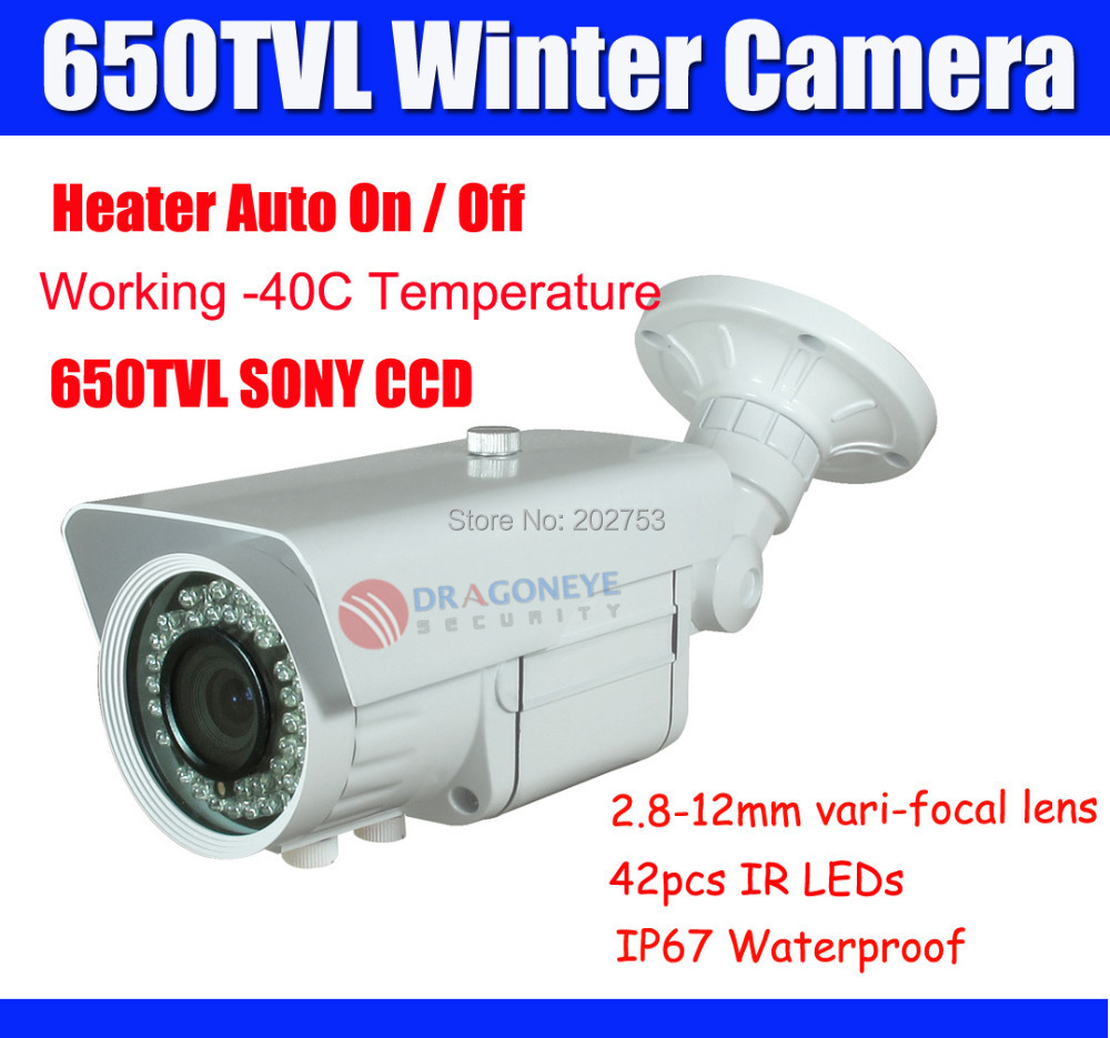 650TVL SONY Winter Camera Outdoor CCTV heater Real Sony 2.8-12mm Lens 40m IR distance Working -40 Celsius - DragonEye Security Ltd's store