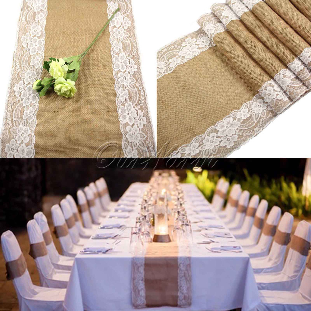 30x275cm Vintage Burlap Lace Hessian Table Runner Natural Jute Country Party Wedding Decoration(China (Mainland))