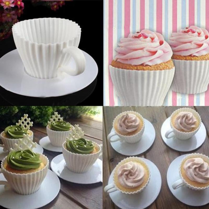 DIY Silicone Cupcake Cup Cake Baking Mould Muffin Tea Saucers Teacup Mold 4Pcs/Set(China (Mainland))