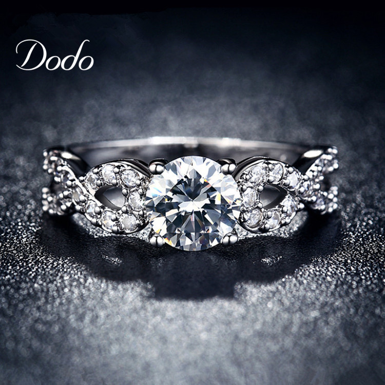 Fashion Wedding Rings for women white gold plated CZ Diamond jewelry ring vintage bague female Infinity
