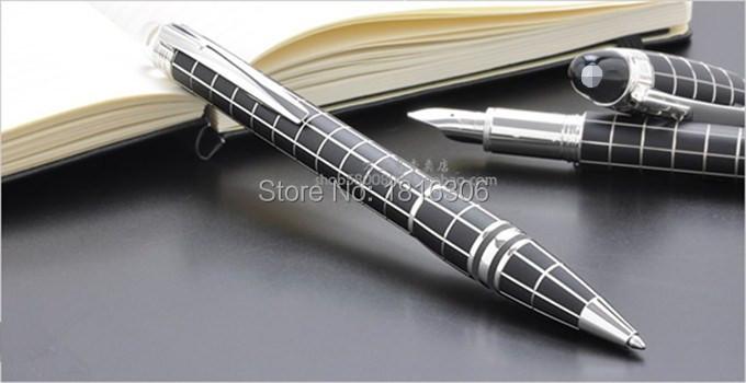 Гаджет  Luxury MB crystal starwalker Silver black Checkered High Quality Ballpoint pen school office free refill can engraving lettering None Офисные и Школьные принадлежности