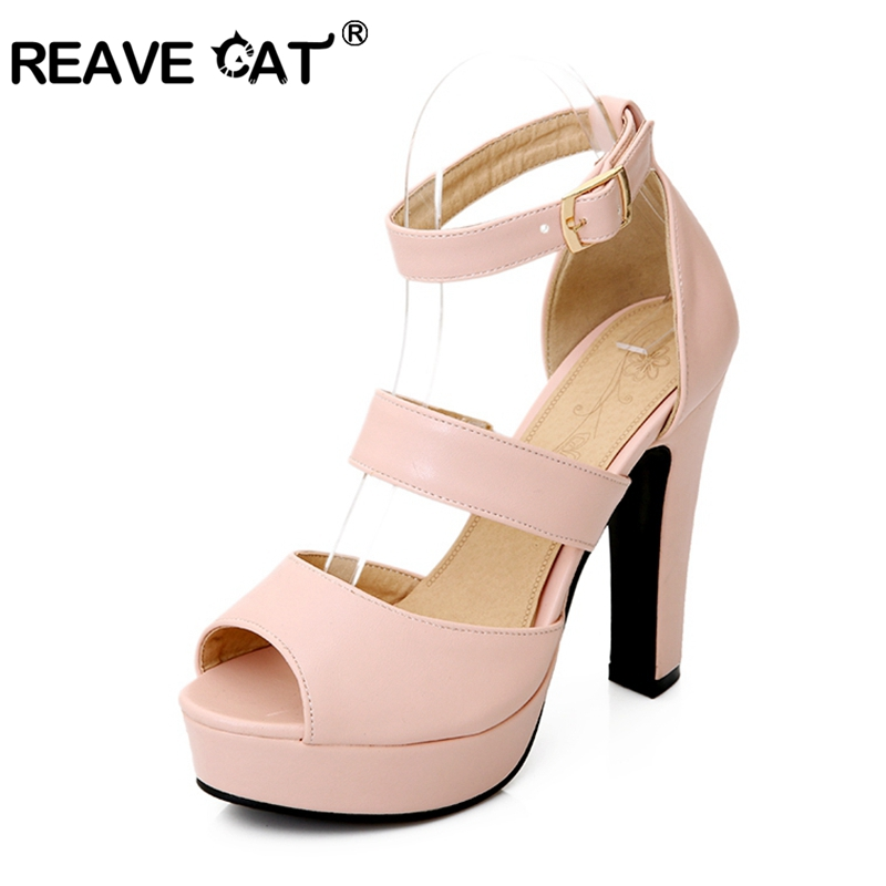 Factory Discount Peep toe High-heeled shoes Thick heel Platform Women's hasp formal Sandals Big size 32-43 Pink Beige PL445(China (Mainland))