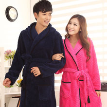 Hot Sell Unisex Men And Women Home Wear Clothing, Winter Coral Fleece Thick Robes Belt Pockets Sleepwear Hooded Bathrobes(China (Mainland))