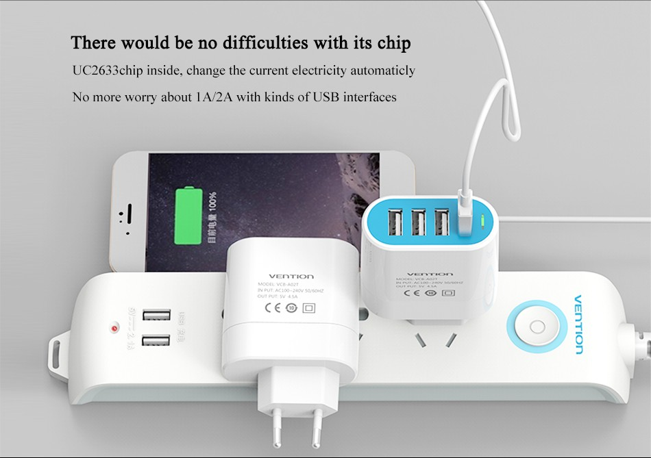Vention 4 Ports USB Wall Charger Adapter 5V 4.8A Quick Charging EU Plug USB Charger for iPhone for Galaxy mobile phone charger