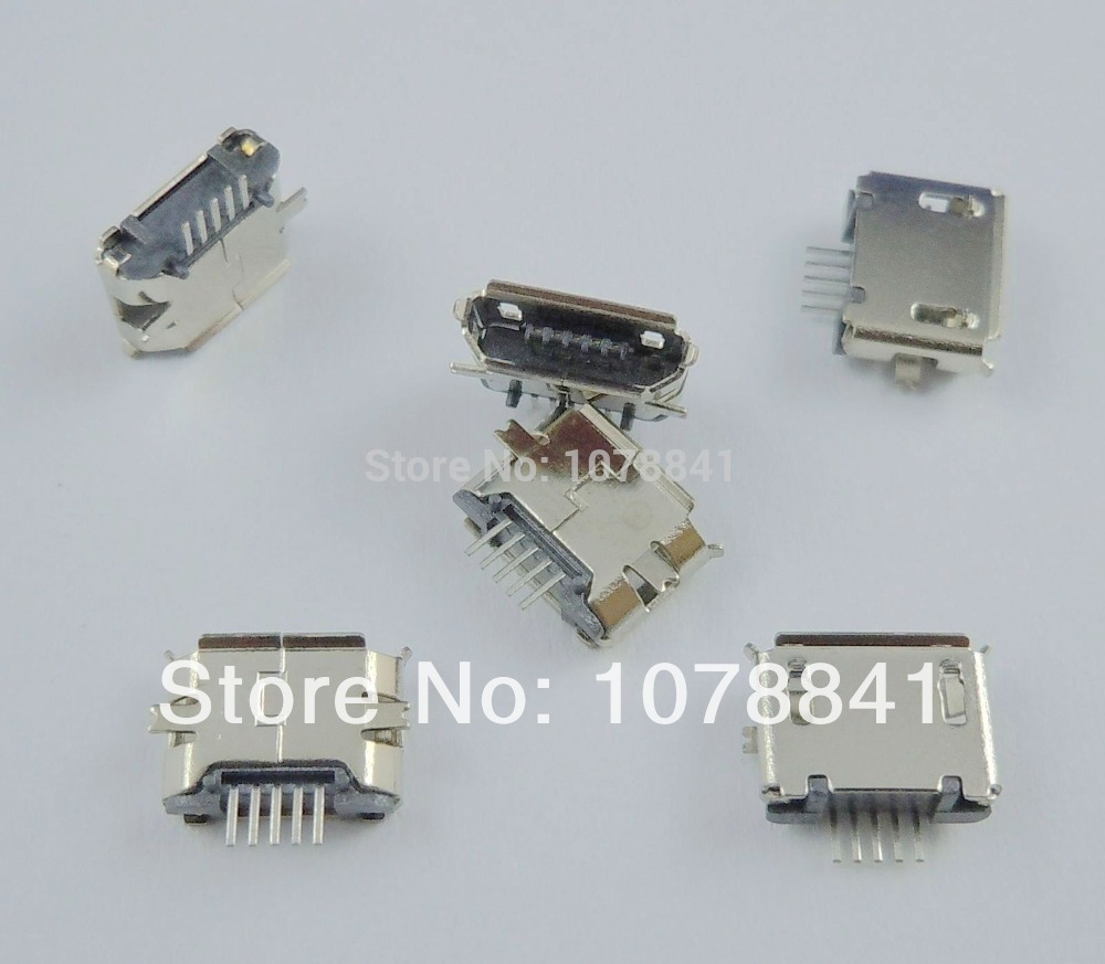 100 Pcs Per Lot Micro USB B Type Female 5 Pin SMT Long Pin Socket Connector<br><br>Aliexpress