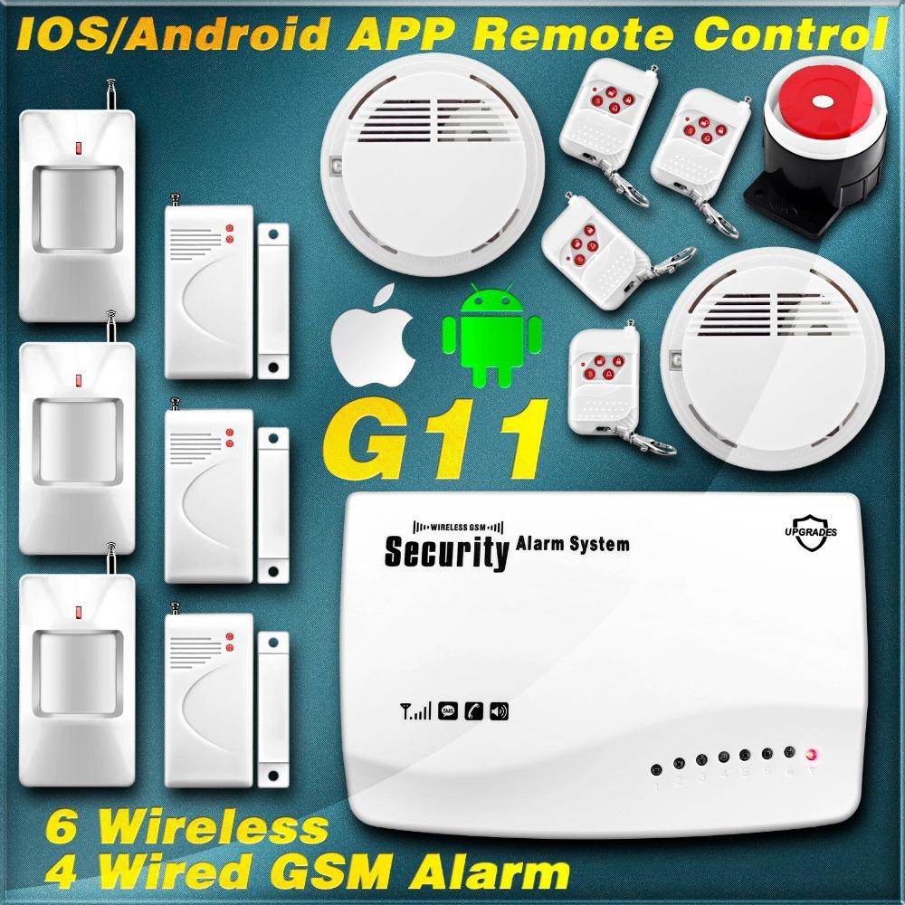 Гаджет  APP IOS/Android Remote Control ARM/Disarm Wireless/Wired GSM Home Burglar Auto Dialer Voice Secure Smoke House Alarm System DIY None Безопасность и защита