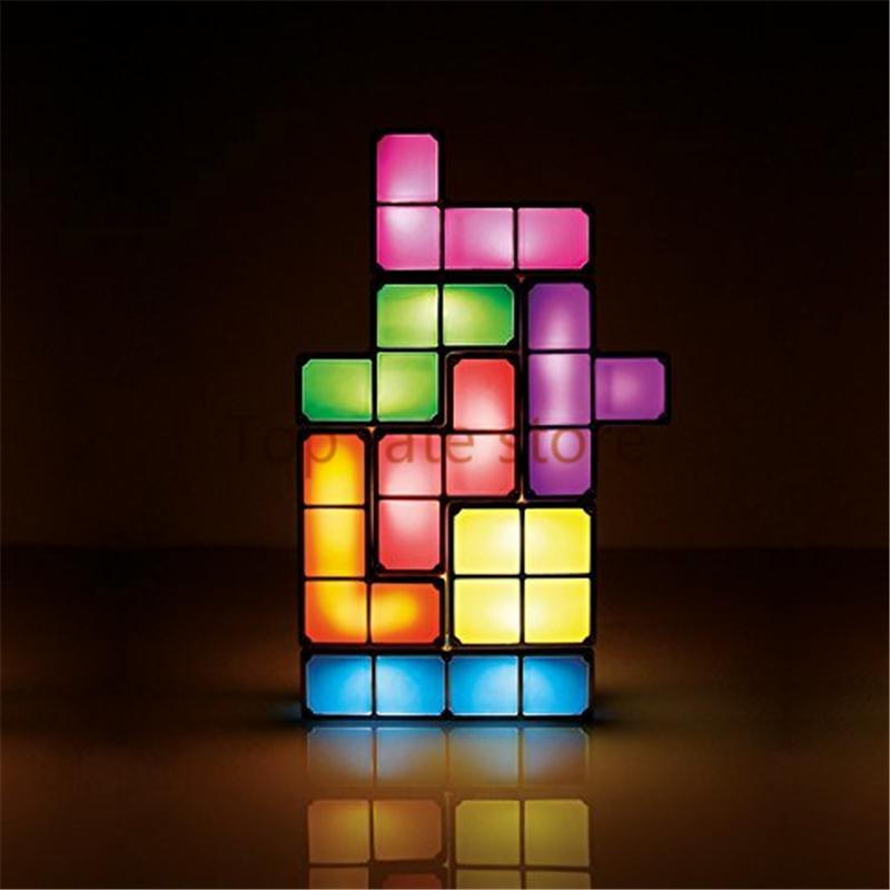 New Arrival Tetris Puzzle Light LED Constructible B lock Desk Decorative Lamp for kids DIY Retro Game Style chrismas gifts Sale(China (Mainland))