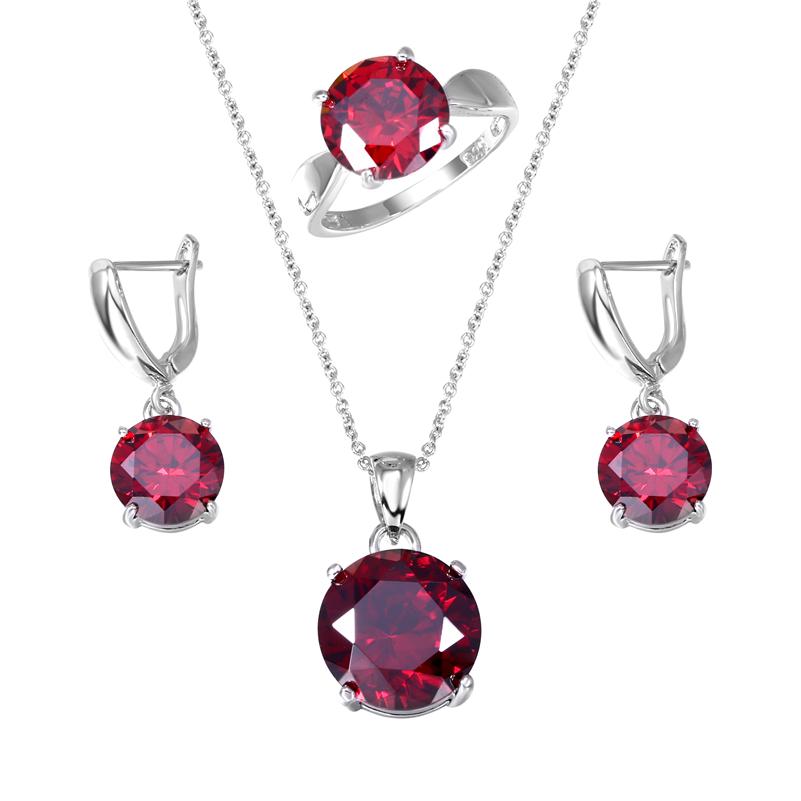 Brand Round Zircon Jewelry Sets Garnet AAA Cubic Zirconia CZ Diamond Pendant Ring Earrings Set For Women Casual(China (Mainland))