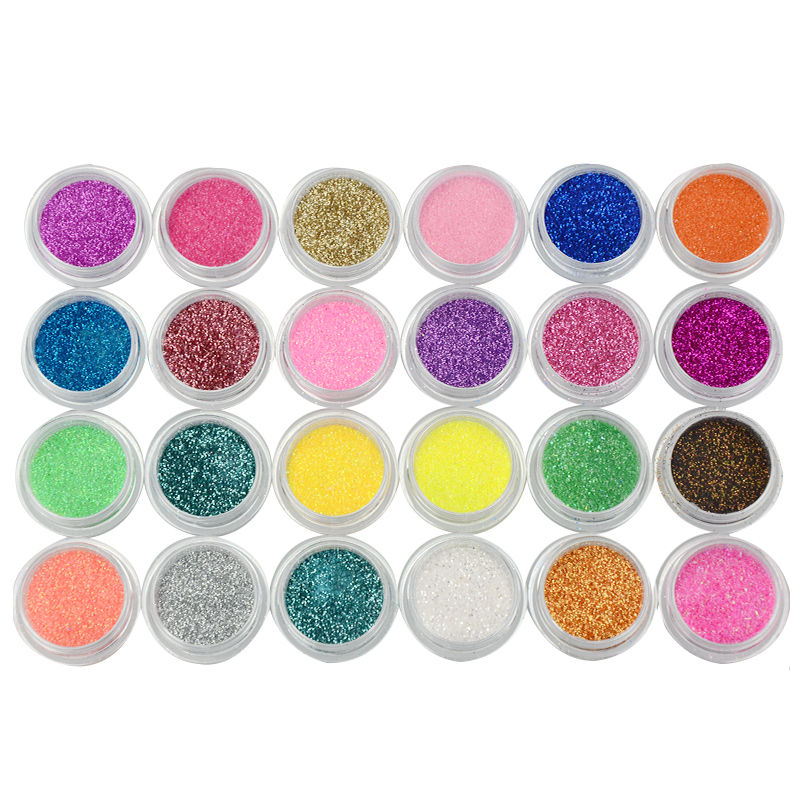 6 Mix Colors Nail Art Deco Acrylic Glitter Dust Powder & Sheet Tips DIY Nail Decoration Tool(China (Mainland))