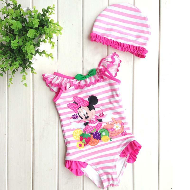 original brand girls minnie mouse swimsuit,summer beach wear girls,pink one piece swimwear UF printing heart little baby