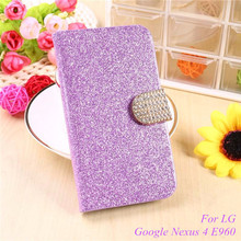 Buy Fashion Bling Glitter Flip Case Cover For LG Google Nexus 4 Nexus4 E960 E 960 Mobile Phone Case With Card Slot for $3.01 in AliExpress store