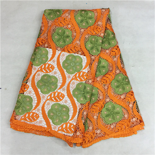 (5 yards/pc) Special offer BG1401 2016 African orange green water soluble guipure lace fabric for Nigeria wedding cloth(F1620A(China (Mainland))