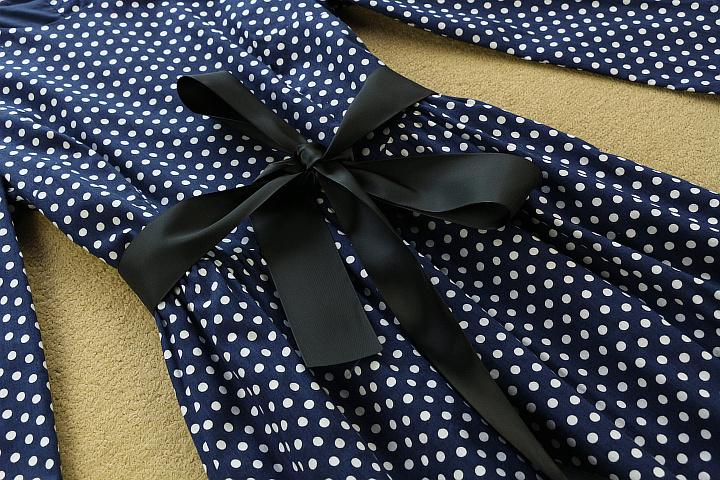 HIGH QUALITY New 2015 Autumn Winter Maxi Dress Women's 3/4 Sleeve Elegant Dot Print Button Back Belt Cotton Long Dress