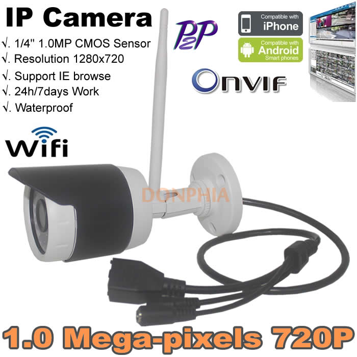 3.6mm Lens 1.0 MP HD Wireless IP Camera Bullet 720P Security IP Cameras Support Night Vision Watching Video Recording Via Phone(China (Mainland))