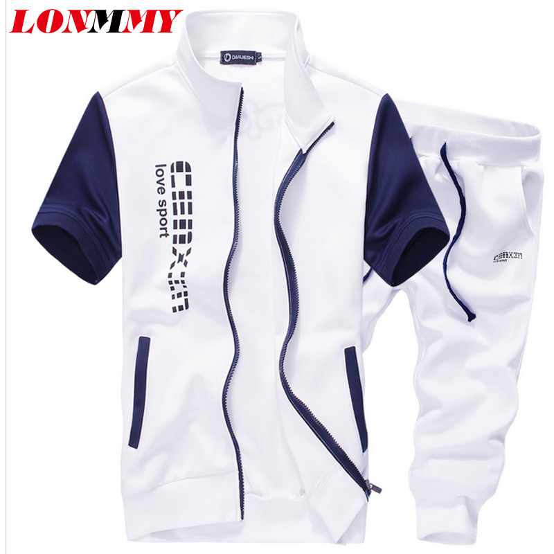 LONMMY M-5XL 2016 Summer Tracksuits Short-Sleeved Suit Shorts Sets Letter Print Fashion Slim Casual Jacket +Pants - store