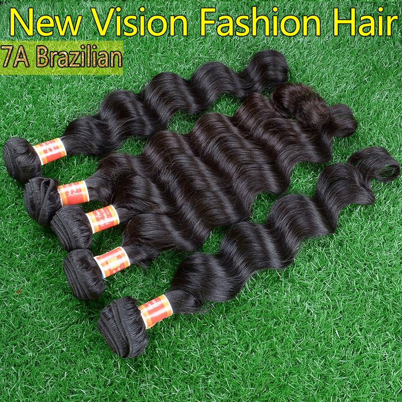 Raw Natural black brazilian loose wave 5pcs Soft human hair weave 100% unprocessed wholesale brazilian loose wave virgin hair<br><br>Aliexpress
