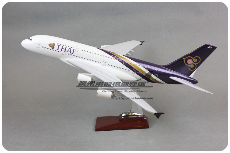 45cm Resin Air Thai Airlines Plane Model Airbus A380 Airways Aircraft Airplane Model w Stand Gift Toy(China (Mainland))