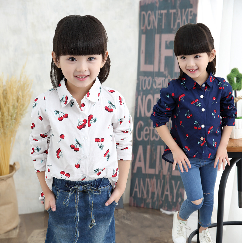 Korean Little Girls Cotton Blouses Cherry Printing Casual White Shirts Navy Blue Shirt For Infant Baby Girl Spring Autumn 2016(China (Mainland))