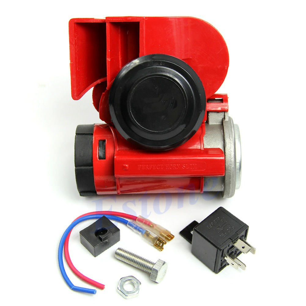 1pc Motorcycle/Car 12V Snail Compact Dual Tone Electric Pump Siren Loud Air Horn Red Free Shipping(China (Mainland))
