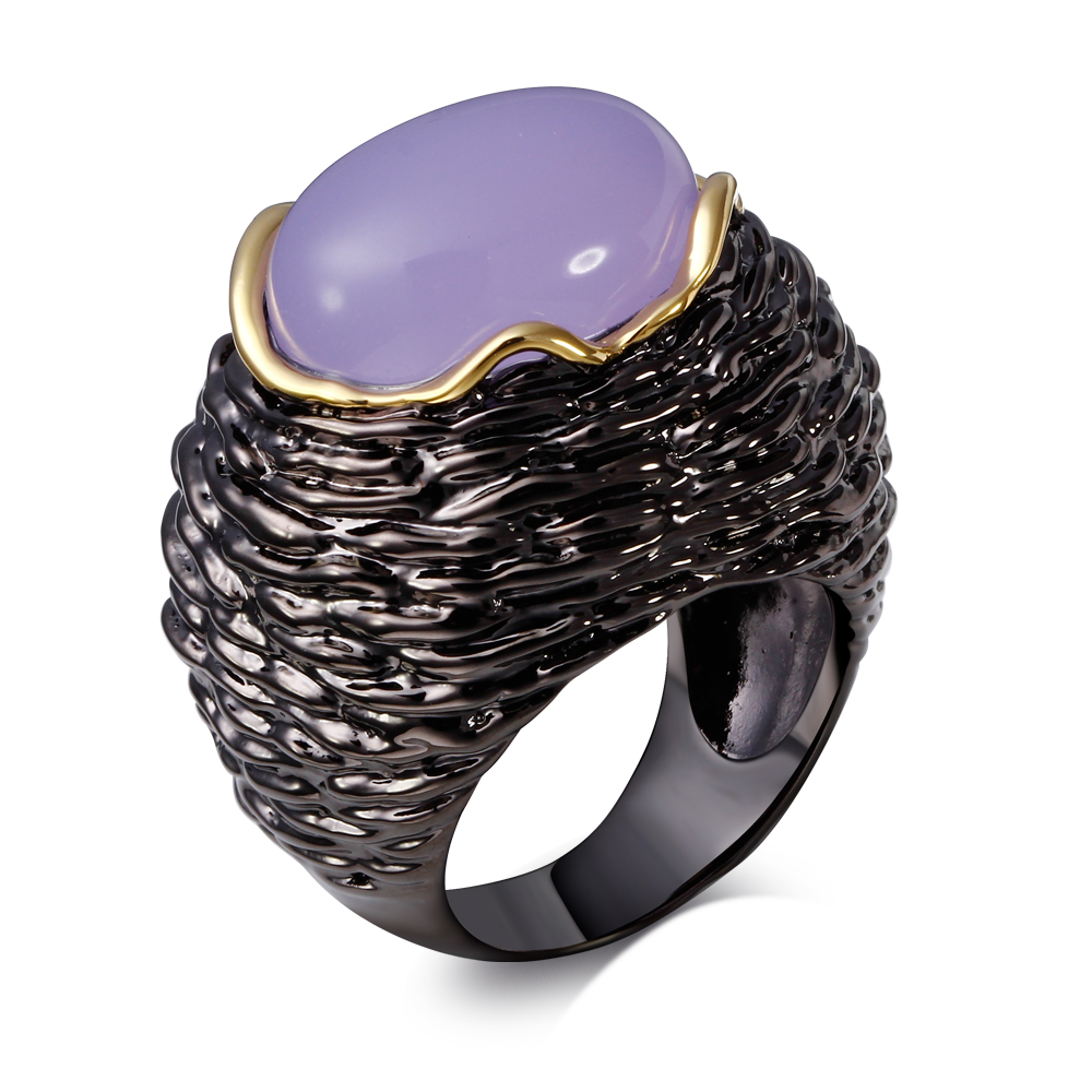 Purple stone rings big stone ring Exaggerated Vintage Style Ring IP black and gold filled AA Cubic Zirconia Bezel Setting stone(China (Mainland))
