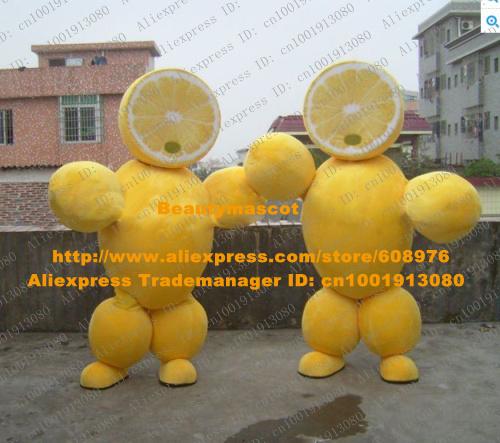 Sweet Yellow Orange Mascot Costume Mandarin Tangerine Lemon Lime Limon Arancia With Chubby Arms Legs Adult No.7786 Free Ship(China (Mainland))