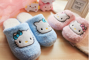 Sweet Fluffy Hello Kitty Home Slippers for Autumn Winter Anti-Slip Indoor Slippers KCS(China (Mainland))