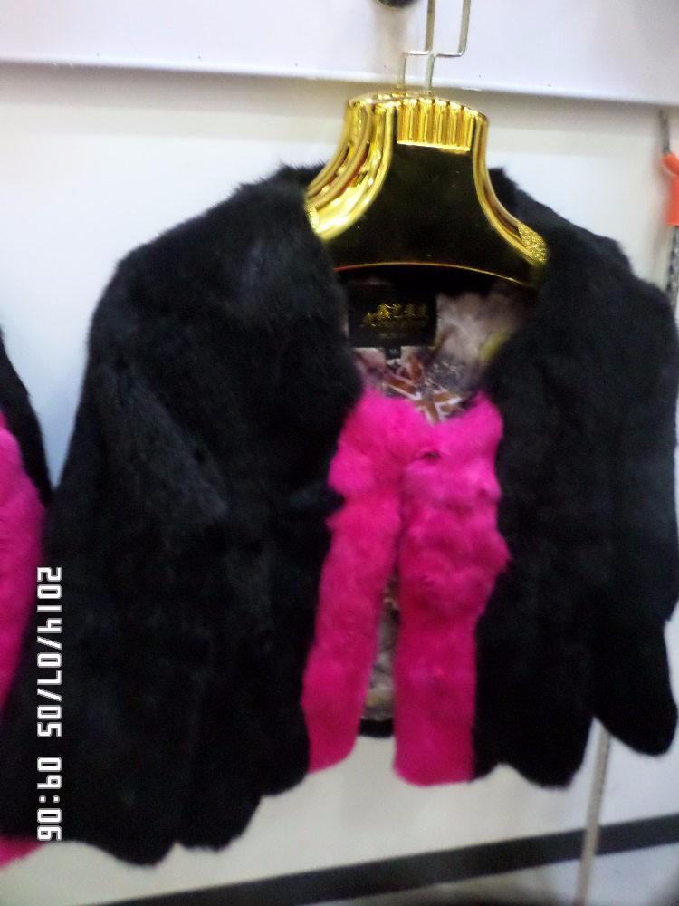 2014 rabbit skin double color fur coat