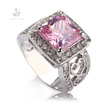 Wholesale Free shipping Pink Cubic Zirconia Best Sellers On Sale  fashion Silver Plated Clearance ring R371 sz#5 6 7 8 9
