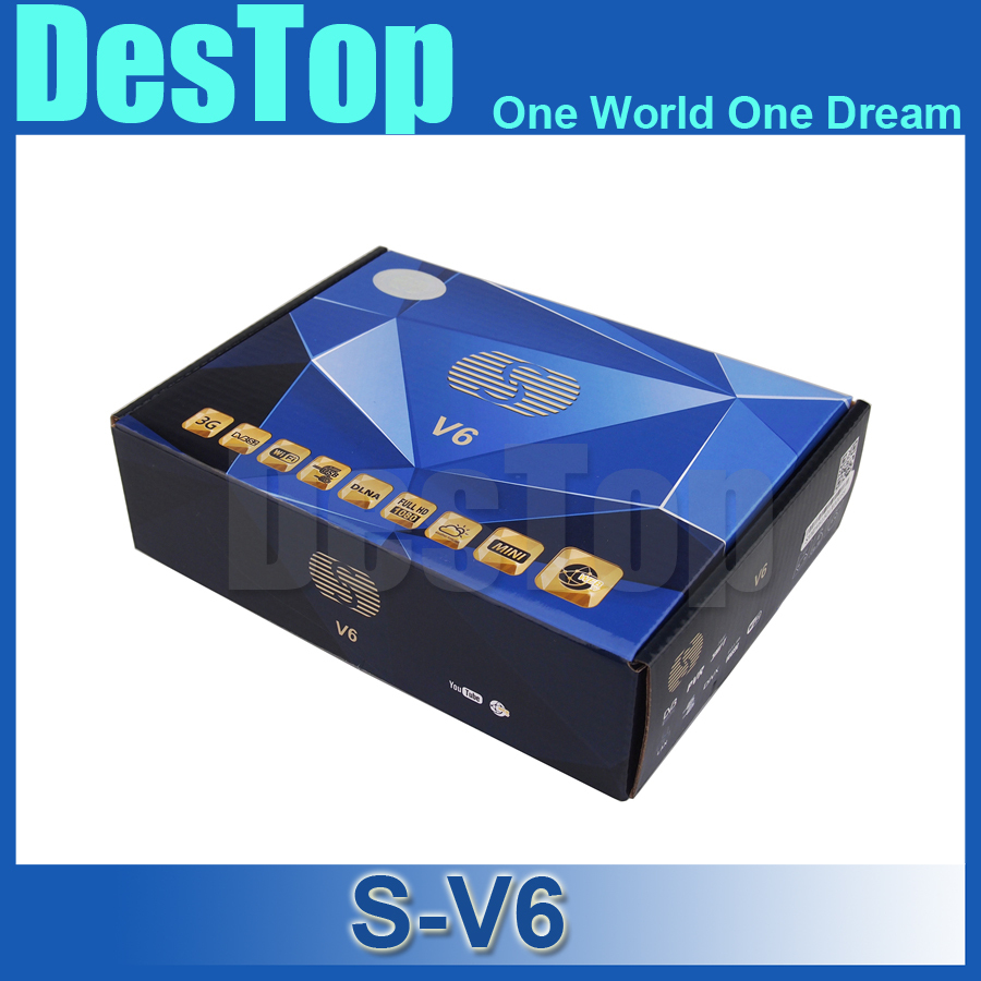 S-V6 Mini Digital Satellite Receiver S V6 with AV HDMI output Support 2xUSB WEB TV USB Wifi 3G Biss Key Youporn 5pcs/lot by DHL(China (Mainland))