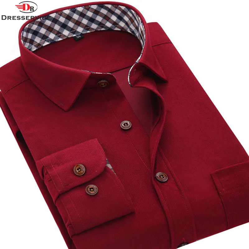 2016 Fashion Mens Overshirt Long-Sleeved Vintage Flannelette Corduroy Shirt Solid Color Casual Men Clothes Social(China (Mainland))