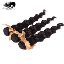 Mocha Hair 3 Or Mix 3 pcs Lot  7A Grade Loose Wave Brazilian Virgin Hair Extensions Wholesale Natural Color Tangle Free(China (Mainland))