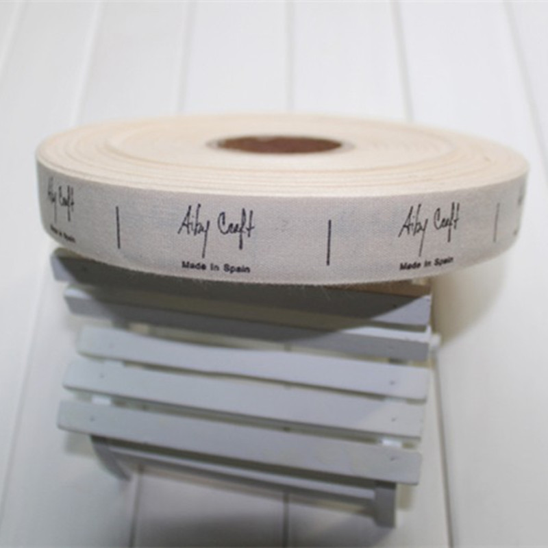 custom printed cotton clothing labels beige bottom color soft wash tags 1000pcs roll lot(China (Mainland))