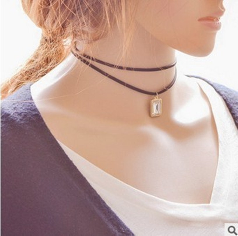 2016 New Fashion Multilayer Black Leather Collar Necklace Chain Gothic Charm Pendant Necklace Jewelry Wholesale Vintage Women(China (Mainland))