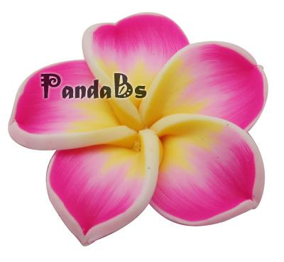 Handmade Polymer Clay Plumeria Beads, for Mother's Day, Flower, Fuchsia, Size about 34mm in diameter, 11mm thick, hole: 1mm(China (Mainland))