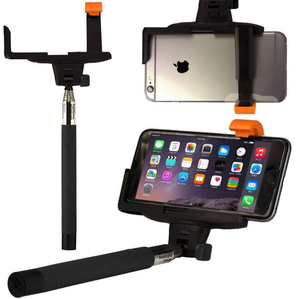 A+++++ Suitable for large screen phone Handheld Bluetooth Selfie Stick Monopod Extendable For iPhone Samsung HTC BLACK(China (Mainland))