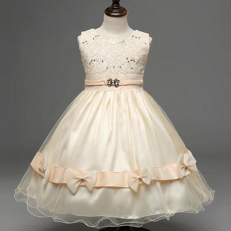 2016 New kids princess wedding dresses birthday party ceremony girl school prom dress baby bridesmaid dress girls evening gown(China (Mainland))
