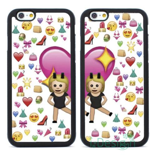 Fit iPhone 4 4s 5 5s 5c se 6 6s 7 plus ipod touch 4/5/6 back cellphone case cover Emoji Pattern Girls Best Friends Couple  -  D. SIGN store