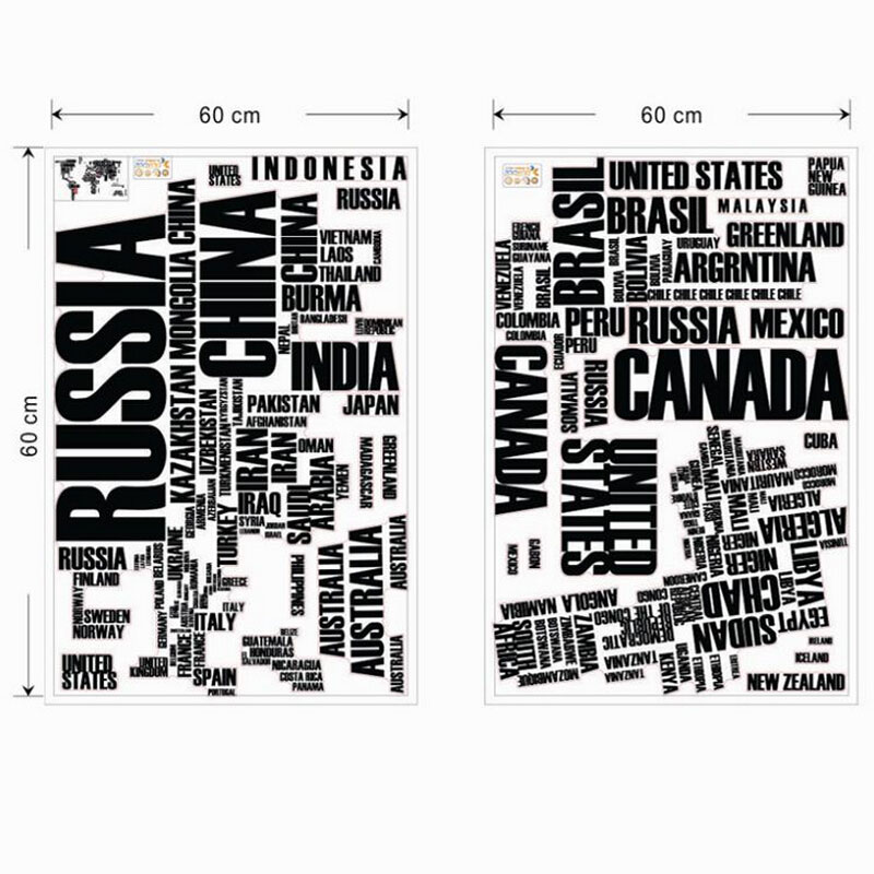 Large World Map Decal Large World Map Countries