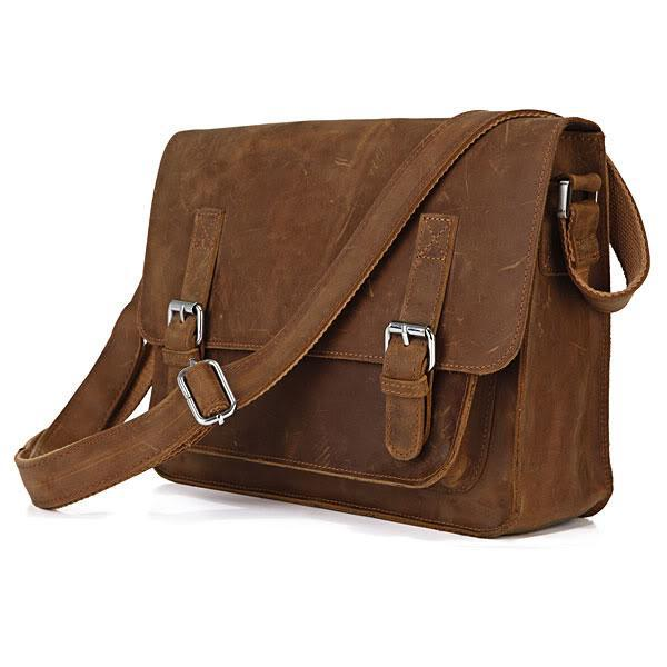 Maxdo High Quality Vintage Brown Guarantee Real Genuine Leather Crazy Horse Leather Men Messenger Bags Shoulder Bags #M7089(China (Mainland))