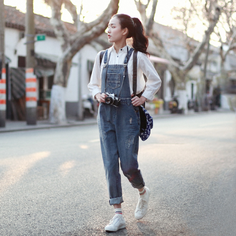 Female Denim Jumpsuits Women Vintage washed Ripped Jeans Overalls Ladies Pockets loose straight Bleached Pants Trousers - Werainyee Store store