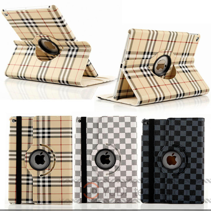 Plaid Design Business style Folio PU Leather For Apple iPad Air 2 case cover Protective Skin for ipad 6 Tablet Accessories YD