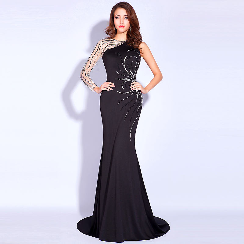 Black Formal Evening Prom Dresses Beading Pageant Wedding Party Gowns India Arabic Real Image One Shoulder Couture Evening Gown(China (Mainland))