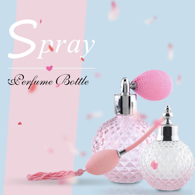 Vintage Crystal Perfume Bottle Pink Short Spray Atomizer Refillable Bottle 100ml(China (Mainland))