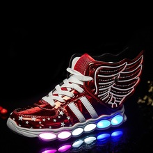 Children Shoes With Light usb Boys And Girls Casual LED Shoes For Kids Usb Charging 2016 LED Light Up 4 Colors Wing Kids Shoes(China (Mainland))